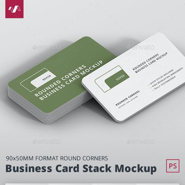 Business Card Mockup Stack 90x50 Round Corners