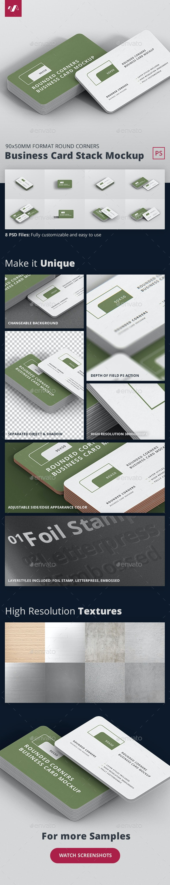 Business Card Mockup Stack 90x50 Round Corners - Business Cards Print