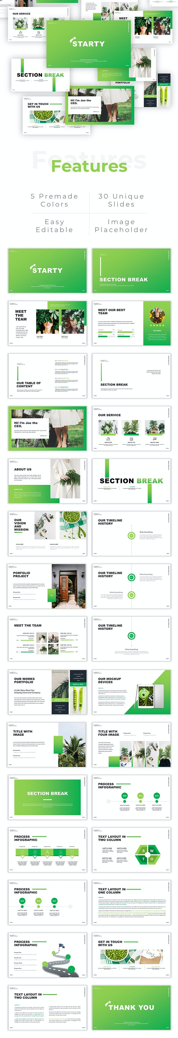 Starty - Creative Green Leaf PowerPoint Template - Nature PowerPoint Templates