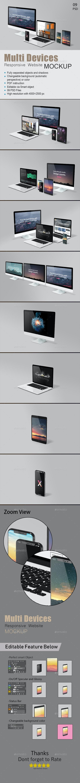 Multi Devices Responsive Website Mockup - Multiple Displays