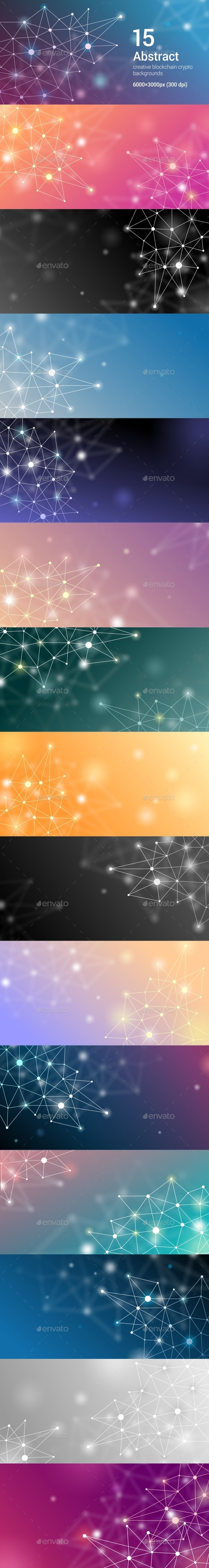 15 Abstract Futuristic Crypto Blockchain Backgrounds. White Dots and Shapes in Triangles Set 3 - Abstract Backgrounds