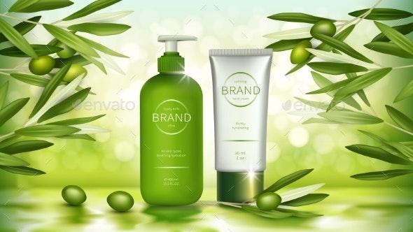 Vector Poster with Organic Olive Cosmetics - Health/Medicine Conceptual