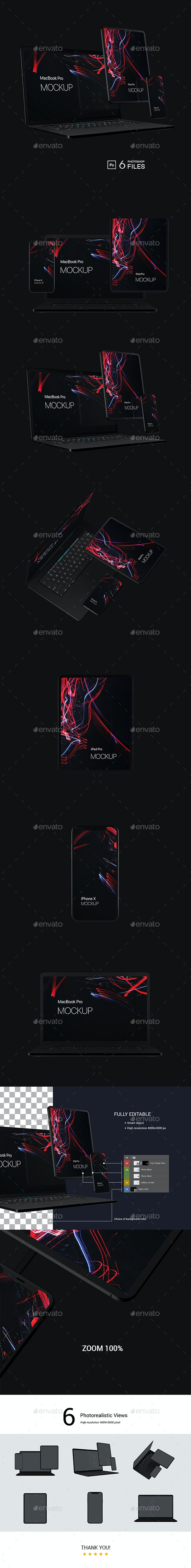 Black Devices Mockup - Displays Product Mock-Ups