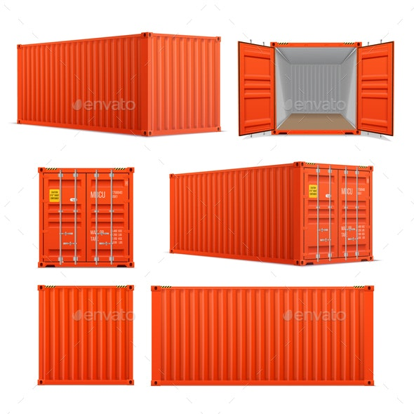 Realistic Set of Cargo Containers - Miscellaneous Vectors