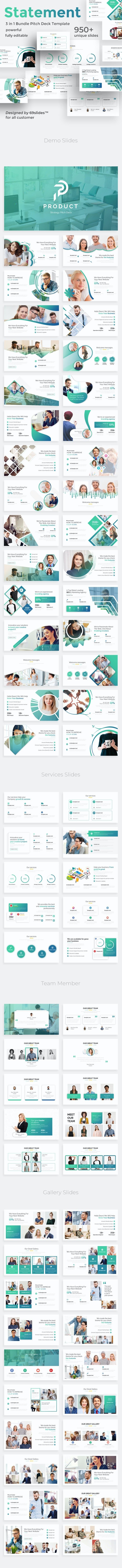 Value Statements 3 in 1 Pitch Deck Bundle Powerpoint Template - Business PowerPoint Templates