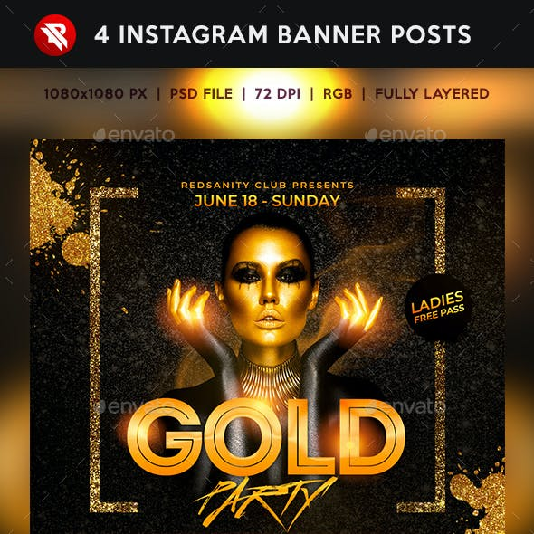 Black Gold Party Instagram Banner Posts