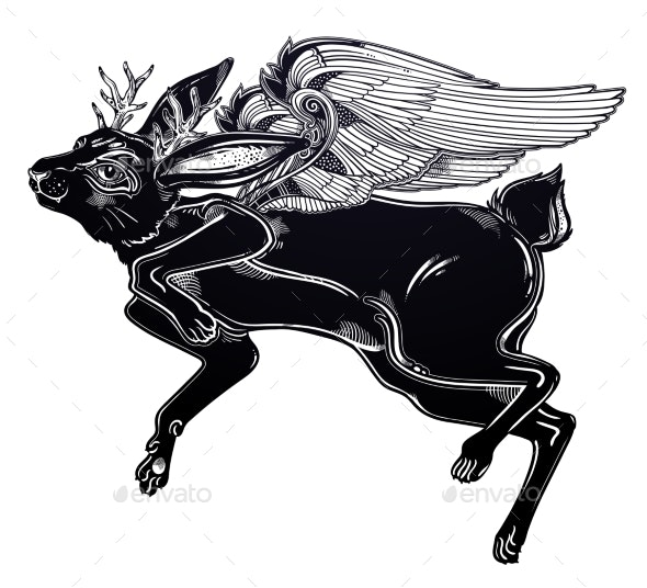 Winged Flying Magic Jackalope Beast - Animals Characters