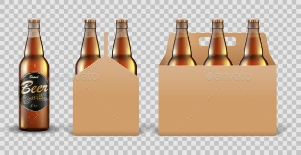 Realistic Set of Glass Beer Bottle in Packaging - Food Objects