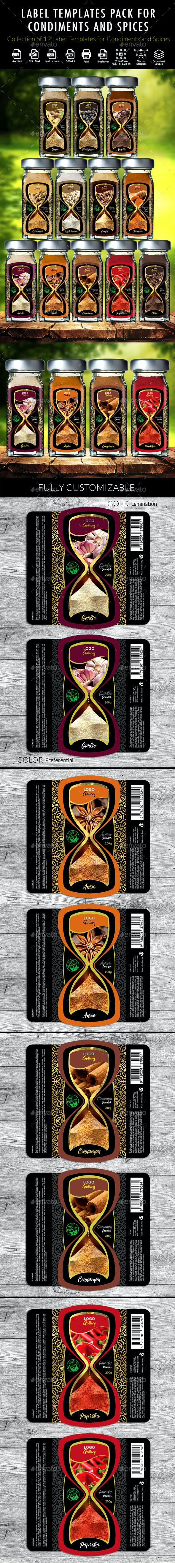 Label Templates for Condiments and Spices Packaging and Flasks