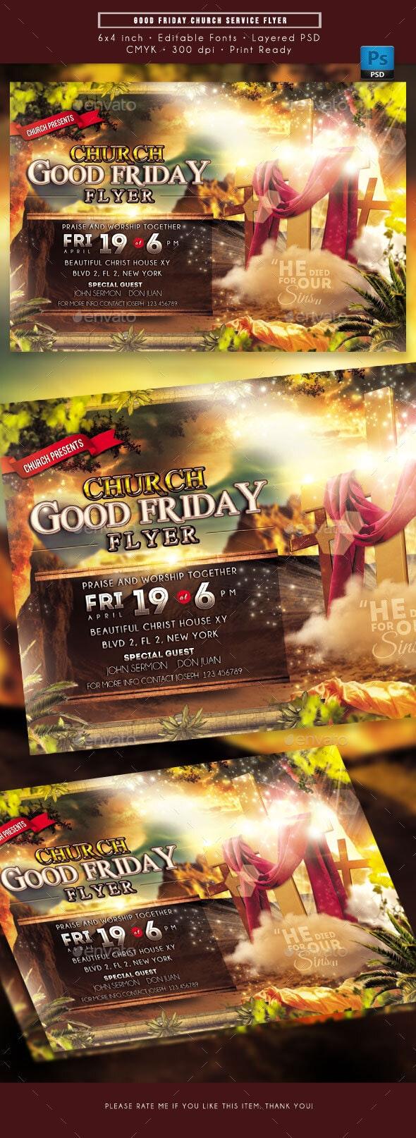 Good Friday Church Service Flyer - Church Flyers
