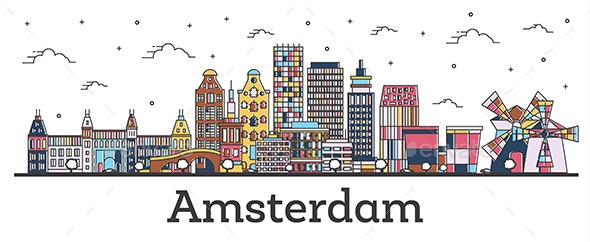 Outline Amsterdam Netherlands City Skyline with Color Buildings Isolated on White. - Buildings Objects