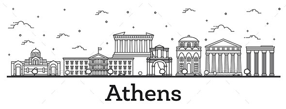 Outline Athens Greece City Skyline with Historical Buildings Isolated on White. - Buildings Objects