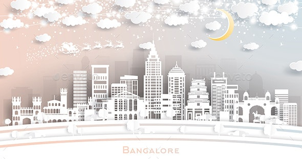 Bangalore India City Skyline in Paper Cut Style with Snowflakes, Moon and Neon Garland. - Buildings Objects