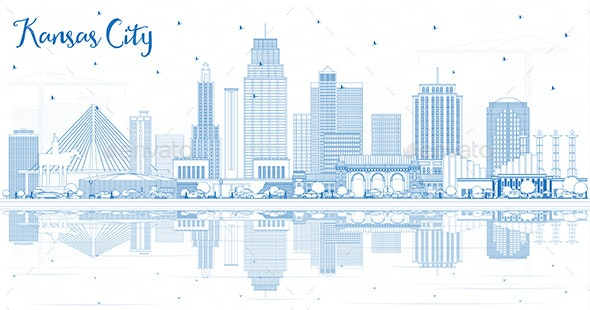 Outline Kansas City Missouri Skyline with Blue Buildings and Reflections. - Buildings Objects