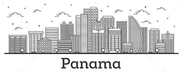 Outline Panama City Skyline with Modern Buildings Isolated on White. - Buildings Objects