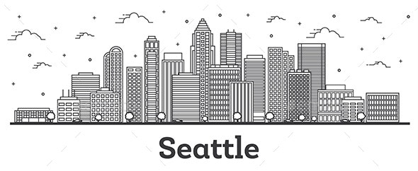 Outline Seattle Washington City Skyline with Modern Buildings Isolated on White. - Buildings Objects