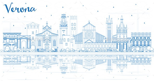 Outline Verona Italy City Skyline with Blue Buildings and Reflections. - Buildings Objects