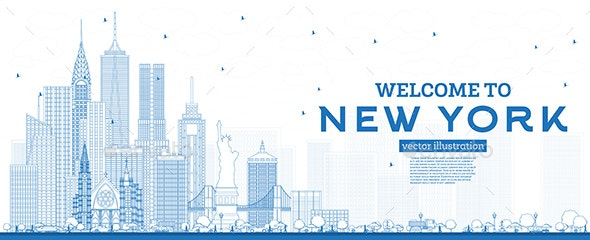 Outline Welcome to New York USA Skyline with Blue Buildings. - Buildings Objects