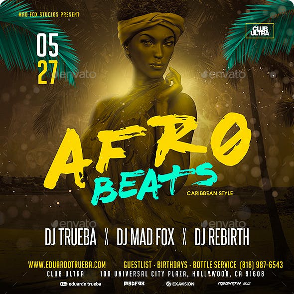 Afro Beats Caribbean Style Party Flyer