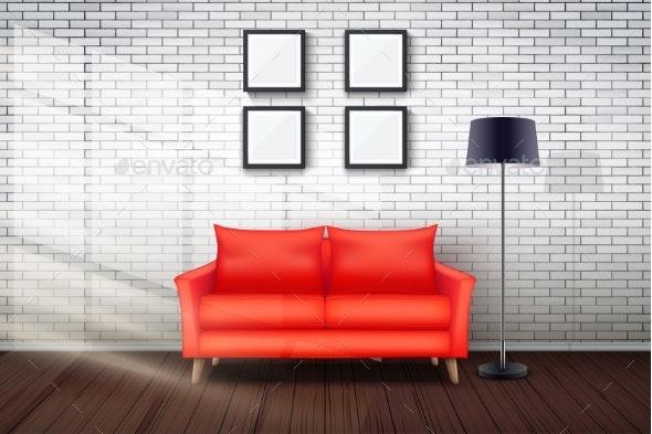 Interior of Living Room and Loft - Miscellaneous Vectors