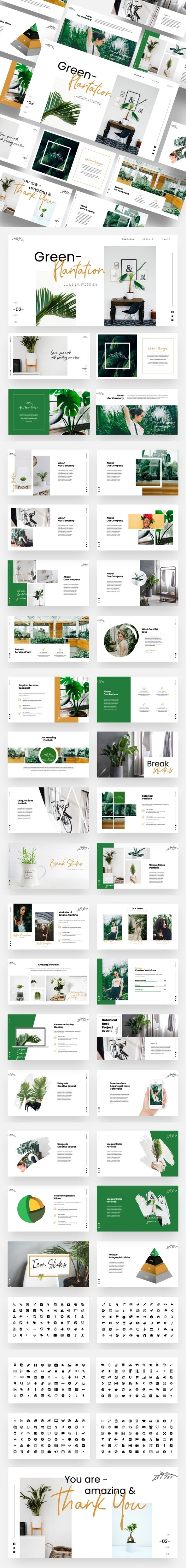 Green Plantation - Botanic & Tropical Powerpoint Template - Creative PowerPoint Templates