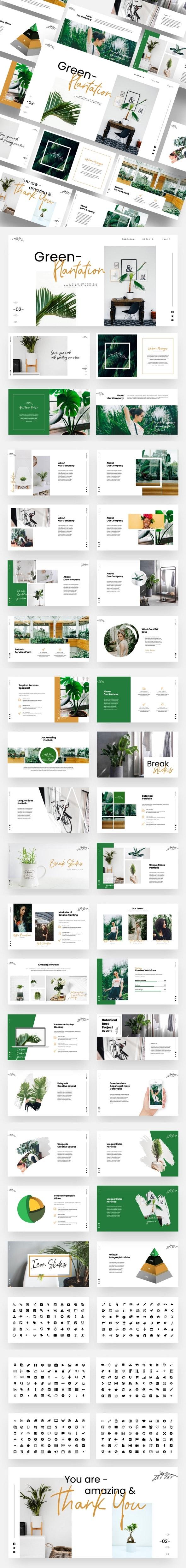 Green Plantation - Botanic & Tropical Keynote Template - Creative Keynote Templates