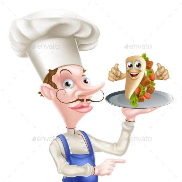 Cartoon Chef Poiting with Kebab