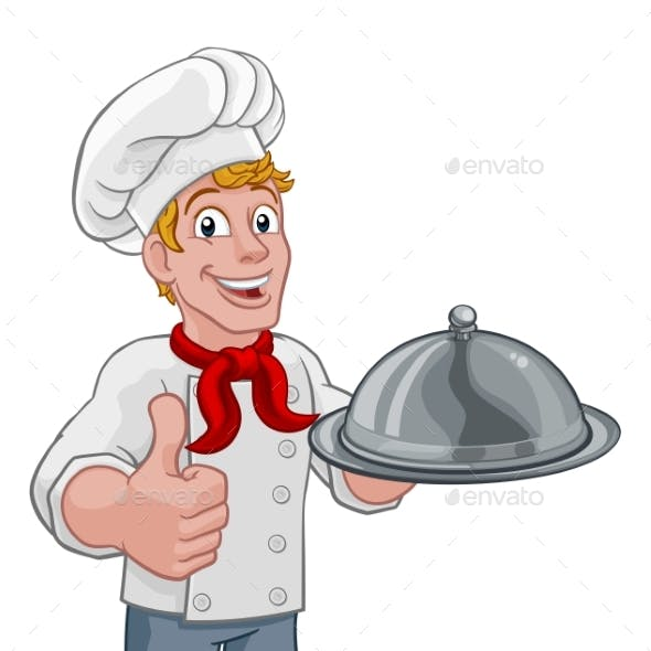 Chef Holding Plate Platter Cartoon