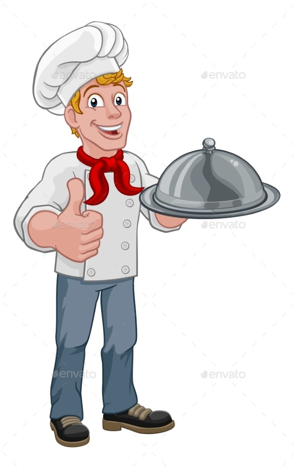Chef Holding Plate Platter Cartoon - People Characters