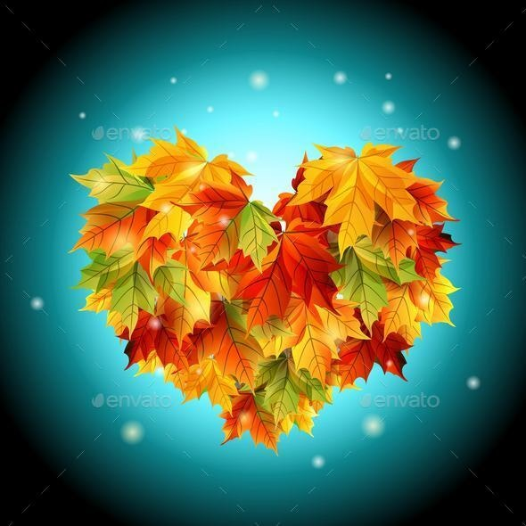 Vector Heart from Autumn Leaves - Seasons Nature