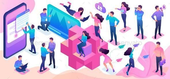 Isometric Set of Young People Creating - People Characters