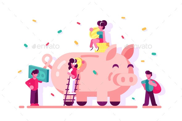 People Saving Money in Piggy Bank - Concepts Business
