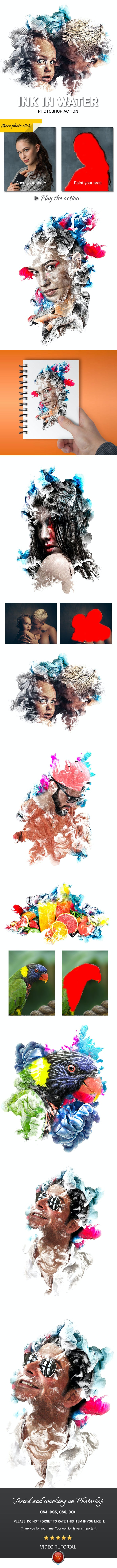 Ink in Water Photoshop Action - Photo Effects Actions
