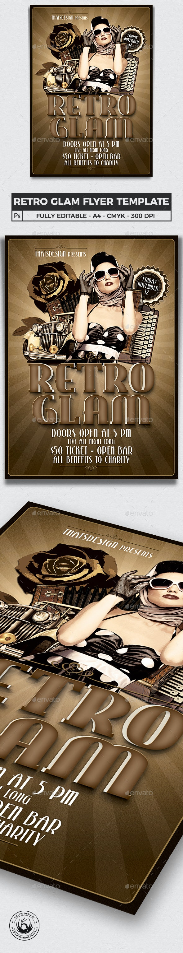 Retro Glam Flyer Template V1 - Clubs & Parties Events
