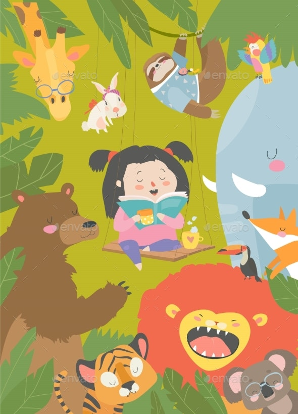 Little Girl Reading Book with Cartoon Animals - Animals Characters