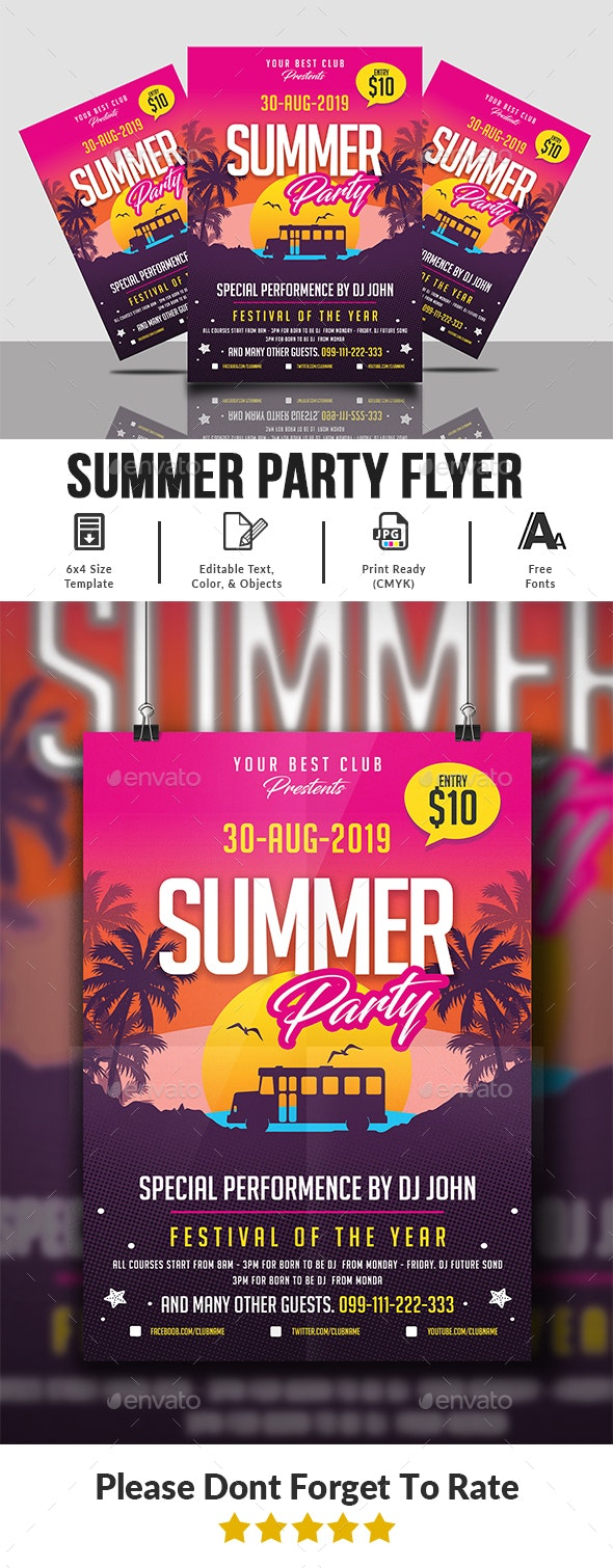 Summer Party Flyer Templates - Clubs & Parties Events