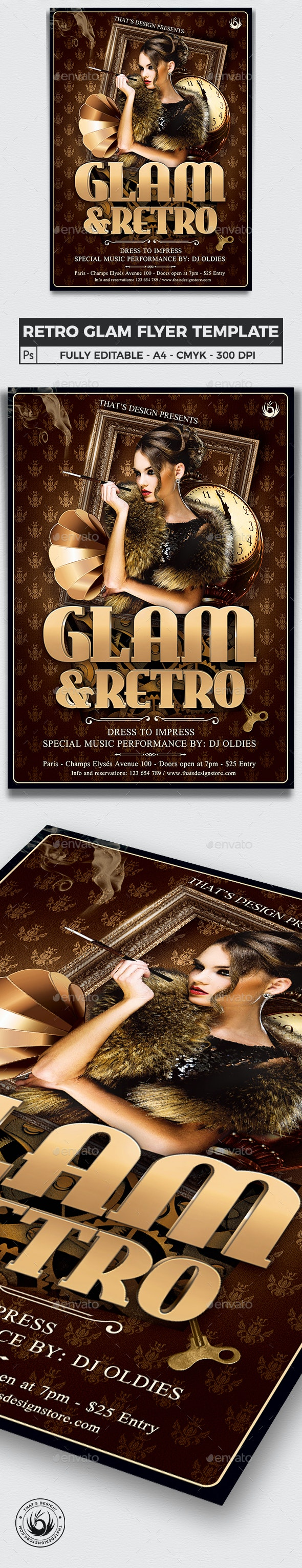 Retro Glam Flyer Template V2 - Clubs & Parties Events