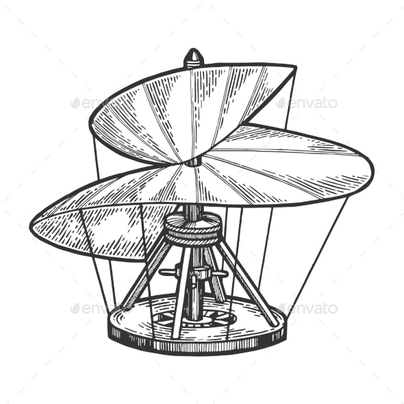Medieval Helicopter Model Sketch Engraving Vector - Man-made Objects Objects