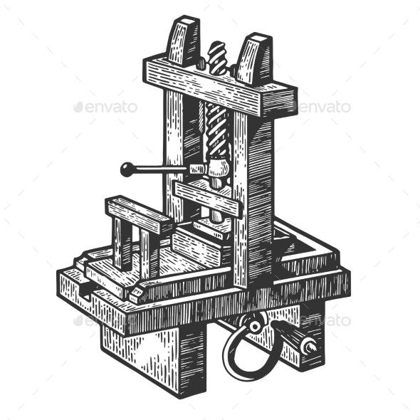 Vintage Printing Press Sketch Engraving Vector - Industries Business