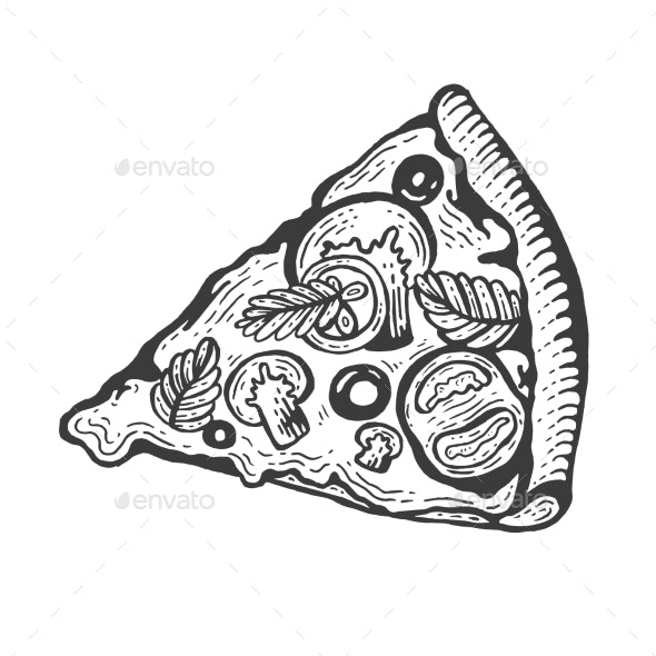 Slice of Pizza Sketch Engraving Vector - Food Objects