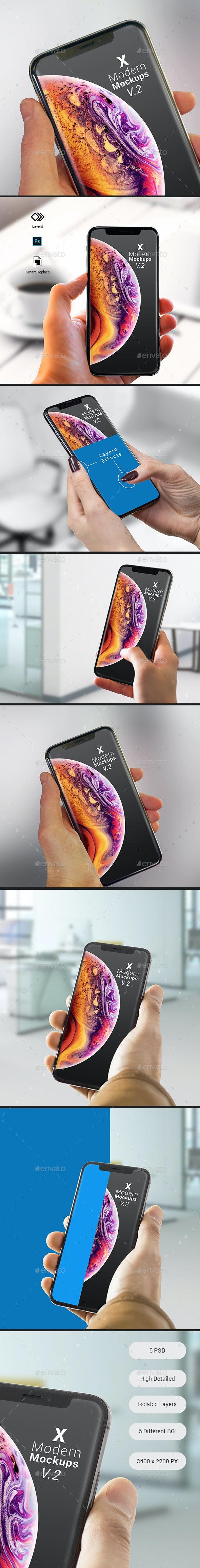X Modern Mock-ups V2 - Apps Ui Showcase - Mobile Displays