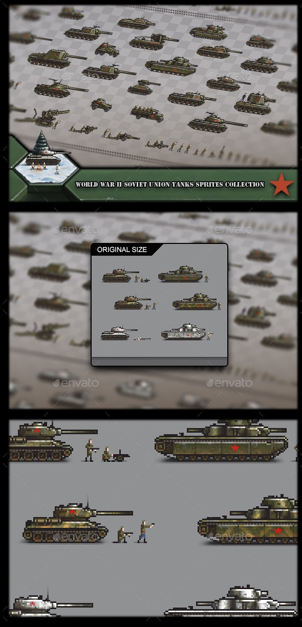 World War 2 Soviet Union Tanks Sprites Collection - Sprites Game Assets