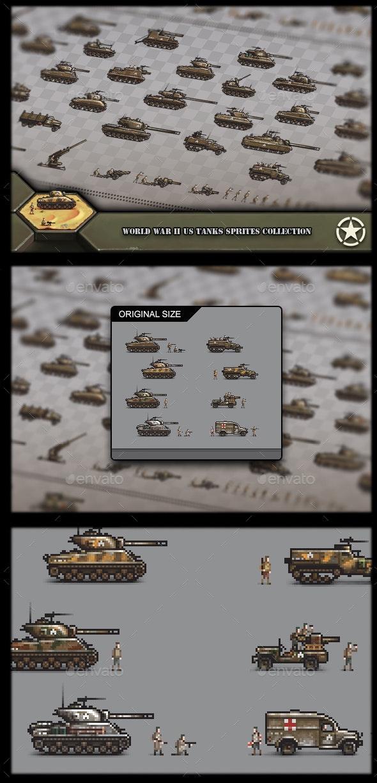 World War 2 US Tanks Sprites Collection - Sprites Game Assets
