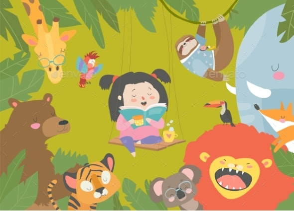 Girl Reading Book with Cartoon Animal - Animals Characters