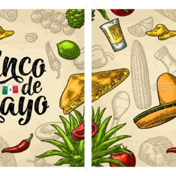 Seamless Pattern Mexican Food and Cinco De Mayo