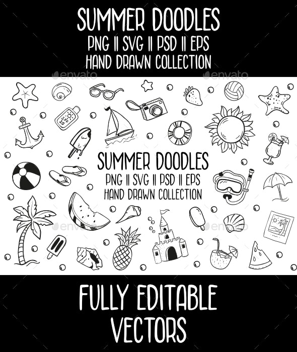 Summer Doodles Vector Icon Set - Seasons Nature
