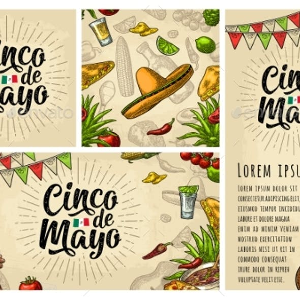 Cinco De Mayo Lettering and Mexican Traditional