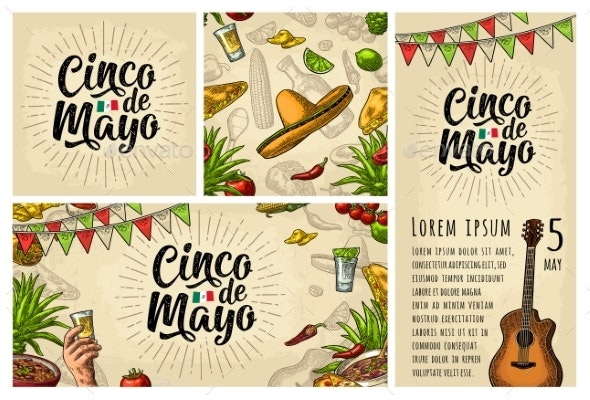 Cinco De Mayo Lettering and Mexican Traditional - Food Objects