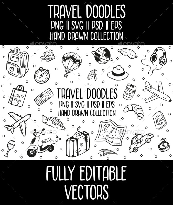 Travel Doodles Vector Icon Set - Travel Conceptual