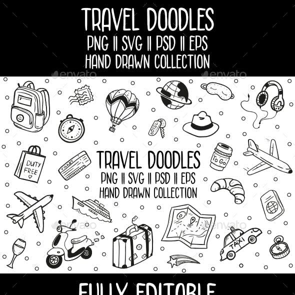 Travel Doodles Vector Icon Set
